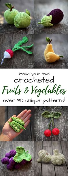 Perfect Play Food Patterns What stunning detail on these crocheted amigurumi fruits and vegetables! Excellent play food to make for a kid's play kitchen! So gorgeous! They look good enough to eat!Posts about amigurumi written by craftevangelistMy kid Crochet Diy, Crochet Amigurumi Free Patterns, Crochet Food, Crochet Gifts, Crochet For Kids, Crochet Dolls, Knitting Patterns, Crochet Ideas, Crochet Pillow