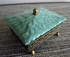 Japanese Made Brass Base Trinket Jewelry Box with Lid Cover Vintage Green