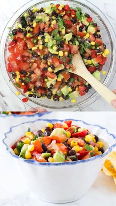Delicious black bean and corn salsa filled with tomatoes, peppers, avocados, lime juice and fresh cilantro. recipes videos for dinner Black Bean Salsa Healthy Dinner Recipes, Mexican Food Recipes, Appetizer Recipes, Vegetarian Recipes, Cooking Recipes, Corn Salsa Recipes, Medeteranian Recipes, Garbanzo Bean Recipes, Avocado Salad Recipes