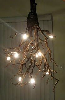 DIY Rustic Chandelier Trees in the home may sound crazy but I LOVE this.