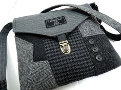 Recycled purse black grey men's suit coat purse by SewMuchStyle