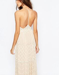 Image 3 ofFrock and Frill Embellished Plunge Neck Maxi Dress With Open Back