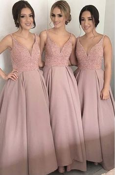 V Neck Bridesmaid Dresses, Blush Bridesmaid Dresses, Long Bridesmaid Dresses, V-neck Bridesmaid Dresses, Bridesmaid Dresses For Cheap Bridesmaid Dresses 2018 Dusty Rose Bridesmaid Dresses, Dusty Rose Dress, Beautiful Bridesmaid Dresses, Lace Bridesmaid Dresses, Prom Dresses, Long Dresses, Dress Long, Blush Prom, Dress Prom