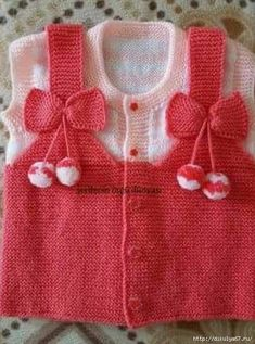 Baby Jacket With Pompon - Diy Crafts Baby Knitting Patterns, Baby Sweater Knitting Pattern, Knit Baby Sweaters, Knitting For Kids, Crochet For Kids, Knitting Socks, Baby Patterns, Crochet Baby, Hand Knitting
