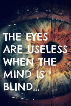 The Eyes are Useless when the Mind is Blind quote life mind think see wisdom - nah, iya. The Words, Cool Words, Great Quotes, Quotes To Live By, Inspirational Quotes, Motivational Quotes, Words Quotes, Me Quotes, Blind Quotes
