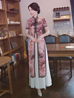Ink&Lotus Print Stand-collar Ao Dai Long Cheongsam - home decor budget