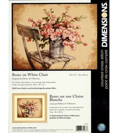 Dimensions Roses On White Chair Counted X-Stitch Kit-14''X 11'', , hi-res