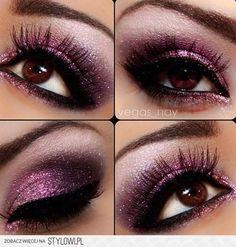 Brown eyes with purple eyeshadow