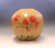 Bright Red Poppies Vase by Laura Bruzzese