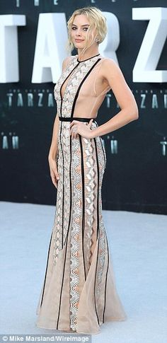 See-through style: Margot Robbie looked incredible in a sheer patterned number, which allo...
