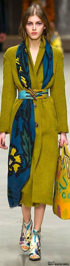 Play with this belted scarf idea - dresses, coats, etc - Burberry Prorsum F/W 2014 - London Fashion Week; these colors are stunning together