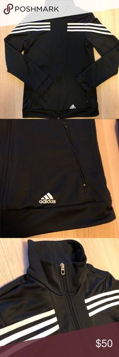 Black Adidas Response Jacket Black Adidas Response jacket with white stripes on sleeves.  Size tag is cut out, but fits like a small and is in like new condition adidas Jackets & Coats