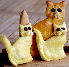 A sweet bread with a cat shape that is much easier to prepare than it seems to be. Cat Bread, Bread Art, Edible Crafts, Edible Food, Baby Food Recipes, Food Baby, Bread Recipes, Baking Recipes, I Love Food