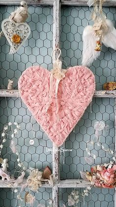 Heart Pink Heart Pink Wreath Shabby Chic Wedding Decor