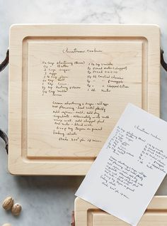 Preserve your family's most celebrated dish or dessert and engrave its handwritten recipe on this fine-wood cutting board. Just like the delicious dish itself, it's sure to become a cherished heirloom to pass down for generations to come.