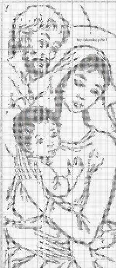 Joseph, Mary, and Baby Jesus Cross Stitch Cross Stitching, Cross Stitch Embroidery, Embroidery Patterns, Crochet Patterns, Cross Stitch Charts, Cross Stitch Designs, Cross Stitch Patterns, Cross Stitch Silhouette, Fillet Crochet