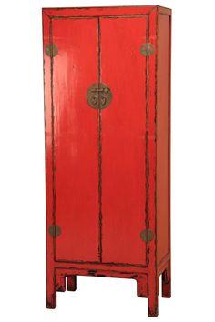 Armario Oriental Rojo Envejecido.