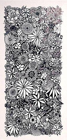 Original art black & white zen flower garden by inkyoriginals