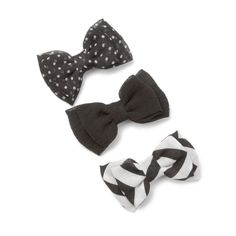 Assorted Black Mini Chiffon Double Bow Hair Clips Set of 3