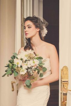 GeminiPhotographyOntario #blush #wedding soft romantic inspiration shoot at Queen's Landing - Niagara on the Lake - Featured on Vineyard Bride #bouquet