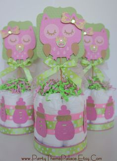 Pink & Green Owl Baby Shower Mini Diaper Cake on Etsy, $20.00