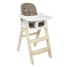 For a perfect, comfy fit during all stages, the seat of the OXO Tot Sprout Chair (Taupe/Birch pictured) adjusts in height and depth and the footrest is height-adjustable. A depth-adjustable tray accommodates baby as she grows and can be removed so the Chair can be pulled up to the table.