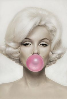 Cool Art: Pink Bubble Gum - Michael Moebius German artist Michael Moebius portrait of the iconic Marilyn Monroe and of course Pink Bubble Gum. You can check out more works of Michael at his official. Divas, Pin Up, Marilyn Monroe Frases, Marilyn Monroe Poster, Marilyn Quotes, Tout Rose, Pink Bubbles, Blowing Bubbles, Foto Art