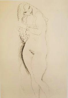 """Gustav Klimt: Studio per il dipinto """"Adamo ed Eva"""" (1917-8) matita 56,9x37,5"""