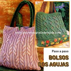 Patrones y tutoriales de tejido crochet y dos agujas gratis para descargar Tote Pattern, Knitted Bags, Gift Bags, Bag Making, Straw Bag, Knitting Patterns, Knit Crochet, Reusable Tote Bags, Purses