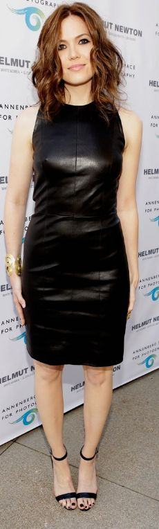 Who made Mandy Moore's black leather dress and black sandals that she wore  in Century City on June 27, 2013?