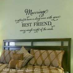 Marriage is getting to have a sleep over - vinyl wall decal, master bedroom, vinyl lettering, wall sticker, design on Etsy.