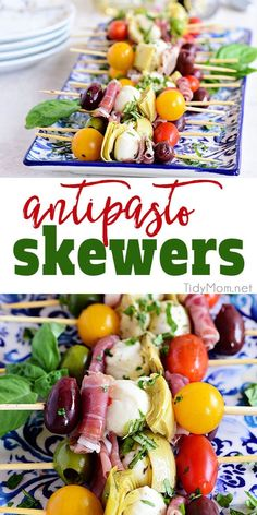 Wow your guests with bright and flavorful antipasto skewers. An easy make-ahead appetizer with a new delicious discovery in every bite. Perfect for any occasion, this party food comes together fast and is endlessly customizable. Print the recipe at TidyMo Antipasto Skewers, Skewer Appetizers, Holiday Appetizers, Appetizers For Party, Appetizer Recipes, Cold Appetizers, Appetizer Ideas, Dip Recipes, Italian Food Appetizers