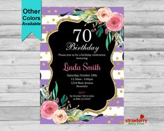70th Birthday Invitation, Floral Invite for Women, Purple Glam Elegant Gold Glitter, 40th 50th 60th 80th, Custom Digital Printable DIY, A11