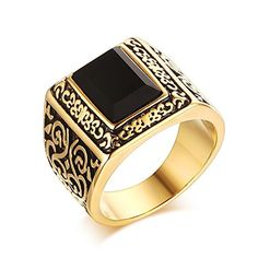 LAMUCH Jewelry Men's Stainless Steel Inlaid Black Agate Casting Gold Plating Ring