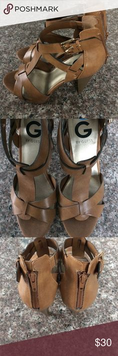 Guess Tan Open Toe Heels Never worn Tan open toe heels by Guess. G by Guess Shoes Heels