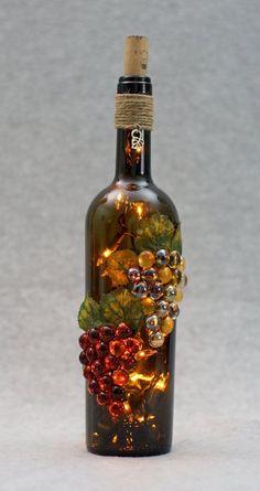 on Etsy wine bottle crafts by Empty Wine Bottles, Wine Bottle Corks, Glass Bottle Crafts, Painted Wine Bottles, Lighted Wine Bottles, Diy Bottle, Bottle Lights, Glass Bottles, Vintage Bottles