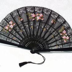 Folding Fans, Silk Folding Fan, Victorian Decor, Signed by Artist in Wood Frame #decor #accessories #Victorian $42