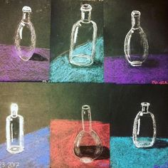 5th Grade glass bottles #crayolachalk #stilllife #reflections #blickartmaterials #artteacher #artteacherlife #5thgrade #artlessons #drawing #laart
