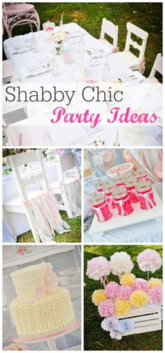 Beautiful cake, cake pops, cookies and decorations at this Shabby Chic Birthday Party!