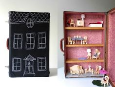 upcycled old suitcase made into a dollhouse