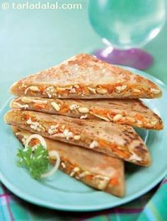 Paneer carrot and bean sprouts parathas enjoy the oriental touch of soya sauce in these parathas made from healthy and yummy stuffing of low-fat paneer sprouts and carrots. Rich in protein fibre vitamin a and b complex a scrumptious treat awaits you! Indian Breakfast, Breakfast For Dinner, Indian Veg Recipes, Vegetarian Recipes, Paratha Recipes, Fast Weight Loss Diet, Lose Weight, Bean Sprouts, Rich In Protein