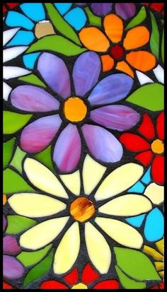 Flower Painting Canvas, Flower Canvas, Fabric Painting, Flower Art, Canvas Art, Flower Ideas, Mosaic Flowers, Stained Glass Flowers, Faux Stained Glass