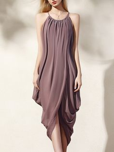 Asymmetric Round Neck Loose Fitting Dress