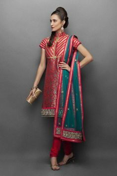 Red Brocade indian Suit online with Antique Gold Embroidery