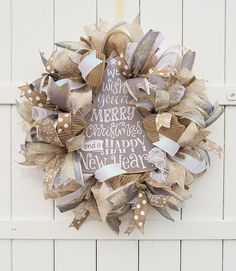 Christmas Wreath Christmas Tree Wreath Gold Burlap Christmas