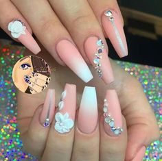 Opting for bright colours or intricate nail art isn't a must anymore. This year, nude nail designs are becoming a trend. Here are some nude nail designs. Fancy Nails, Bling Nails, 3d Nails, Glam Nails, Nail Nail, Coffin Nails, Nail Polish, Fabulous Nails, Gorgeous Nails