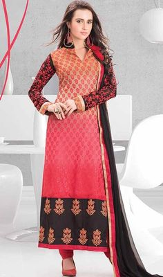Make that special occasion a memorable one in this churidar kameez in multicolor shade brasso. The lace and resham work seems chic and best for any event. #latestnewdesignsuit #straightstyledress #reshamembtroidereddresses