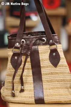 Shoulder Bag Jute Made Of Abaca Material With The Combination Leatherette