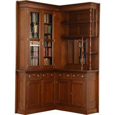 Victorian Eastlake Corner 1885 Antique Walnut Library Bookcase or China Cabinet