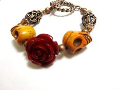 Rockabilly Wedding Sugar Skull Bracelet  Day of The Dead Jewelry Garnet Red Rose Aged Copper on Etsy, $21.99